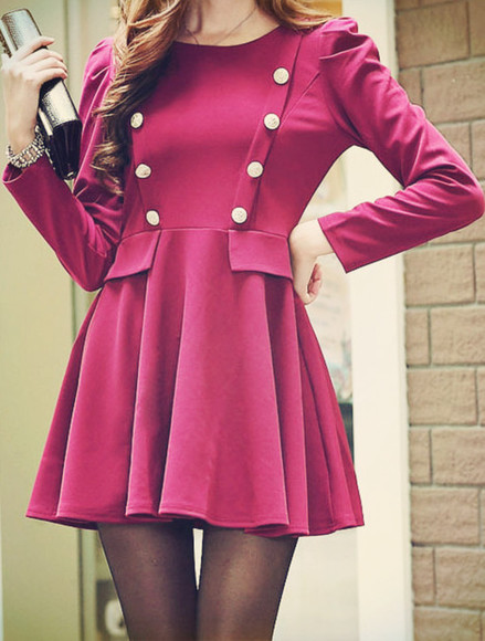 dress buttons pink dress pink coat girl girls coat vintage stylish winter outfits fall outfits winter coat winter dress pearl pea coat