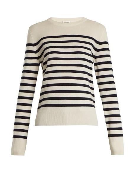 Saint Laurent sweater long knit white blue