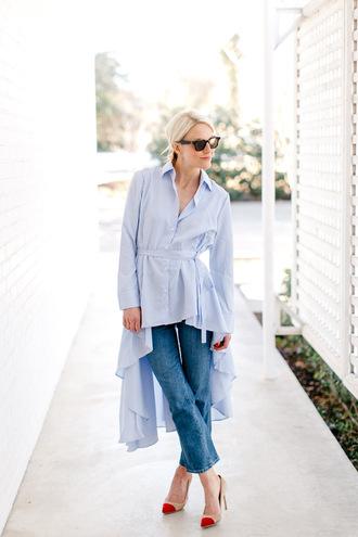 luella & june blogger top jeans shoes blue shirt shirt pumps