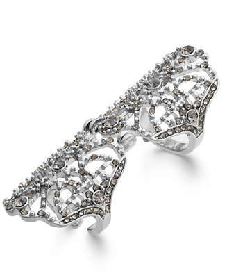 Tone crystal knuckle ring