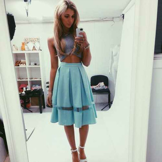 skirt top necklace chunky necklace grey swimwear bracelets heels shoes light blue skirt see through skirt midi skirt