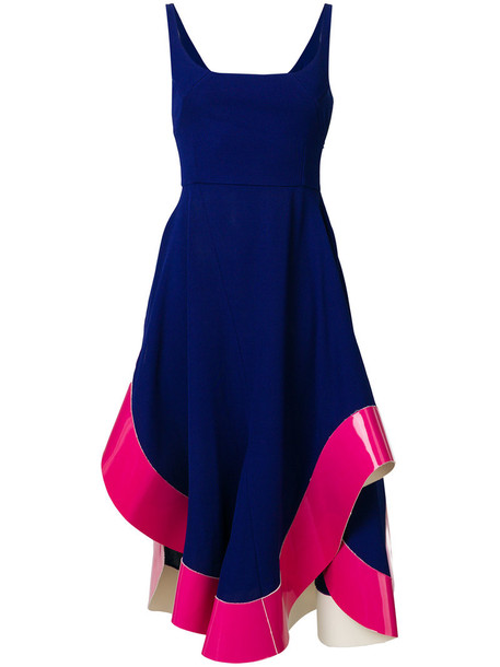 dress midi dress back open flowy open back women midi spandex blue