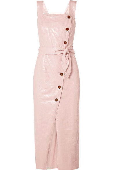 Nanushka - Zora croc-effect vegan leather wrap-effect midi dress
