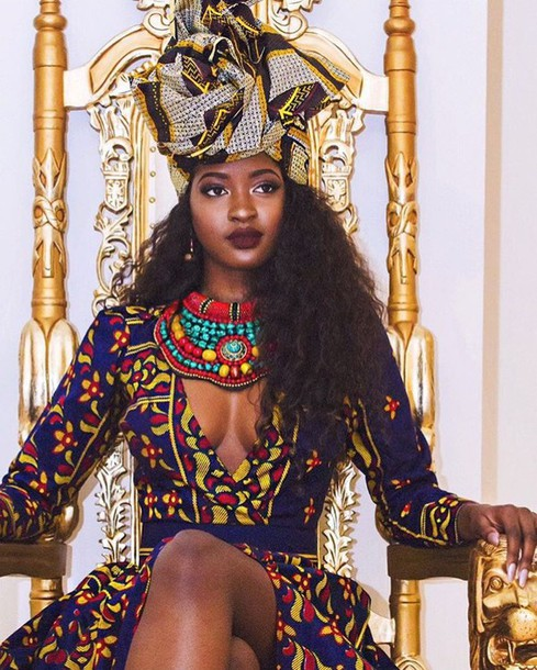 0691ca1a17 african print african dress dashiki fashion vibe long sleeves long sleeve  dress statement necklace black girls