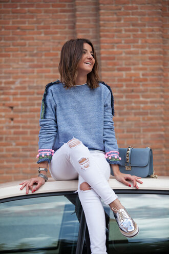 lovely pepa blogger sweater pants bag shoes jewels