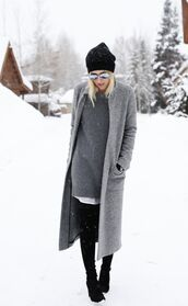damsel in dior,sweater dress,long coat,grey coat,mirrored sunglasses,winter outfits,blouse,sweater,dress,coat,shoes,gloves,tights,hat,opaque tights,grey long coat,grey,jacket,long