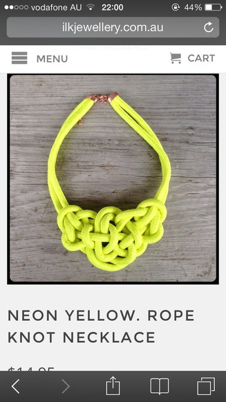 jewels neon yellow rope necklace