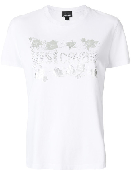 just cavalli t-shirt shirt t-shirt women white cotton print top