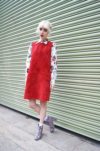 stella's wardrobe blogger floral shirt retro red dress suede dress python ankle boots