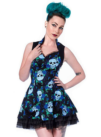 dress skull edgy floral floral dress skull dress short dress mini dress blue blue floral dress blue flowers pin up pin up dress vintage vintage dress edgy vintage