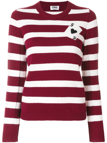 Sonia By Sonia Rykiel - intarsia playing card jumper - women - Cotton/Polyamide/Viscose/Lambs Wool - XL, Red, Cotton/Polyamide/Viscose/Lambs Wool