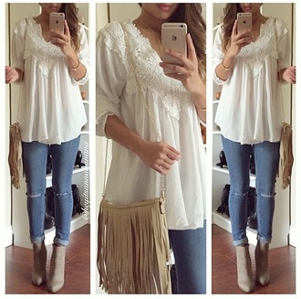 top blouse white top white blouse lace top lace tops jeans denim boots beige beige boots creme bag handbag fringes beige bag shirt