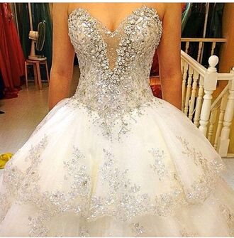 dress white dress white wedding dress diamonds glitter dress
