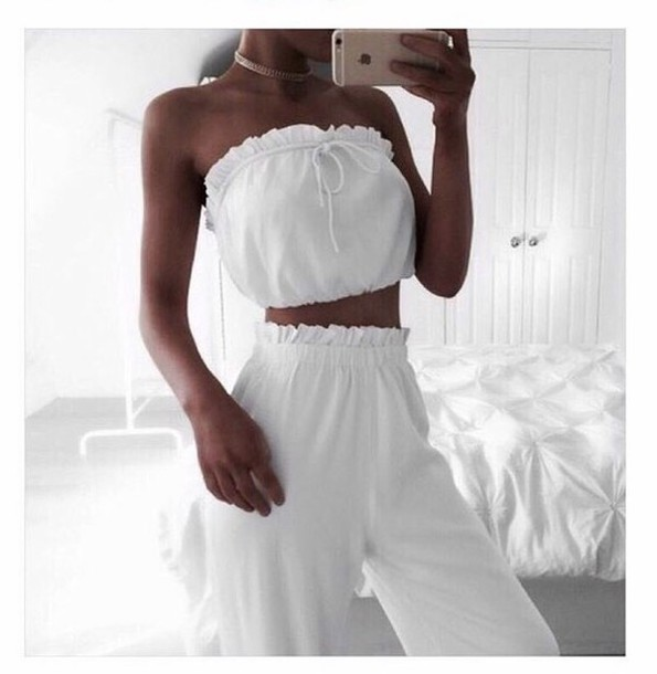 Jumpsuit white two-piece tumblr tumblr outfit tumblr girl all white two piece - Wheretoget