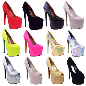 Womens Black Platform 7 inch High Heel Stiletto Pumps Court Shoes ...