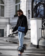 jeans,sandals,sweater,black sweater,sunglasses,bag,embellished,denim,blue jeans,high heel sandals,sandal heels