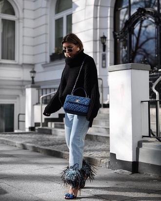 jeans sandals sweater black sweater sunglasses bag embellished denim blue jeans high heel sandals sandal heels
