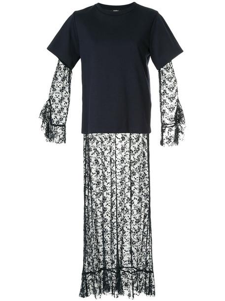 GOEN.J dress maxi dress maxi women layered cotton blue