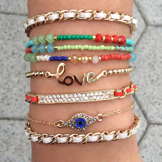 jewels jewelry wow nice love purchase girly girl rainbow bracelets gems