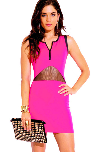 Neon hot pink fishnet zip up bodycon fitted club mini dress
