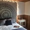 Black and white floral elephant mandala tapestry - royalfurnish.com