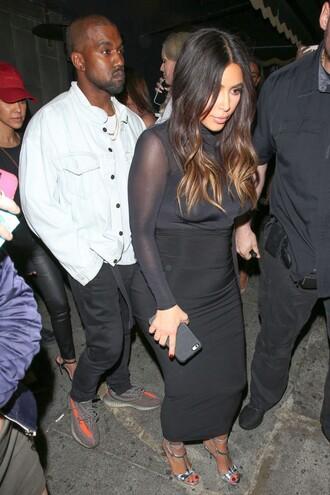 top turtleneck kim kardashian see through bodycon dress bodycon black sandals spring outfits skirt shoes