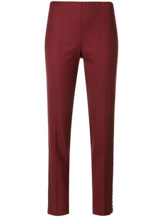 cropped women spandex wool red pants