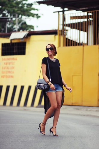preppy fashionist blogger high low black top denim shorts sandals top shorts shoes bag sunglasses