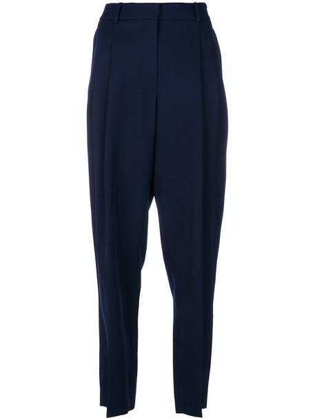 high waisted high women blue wool pants