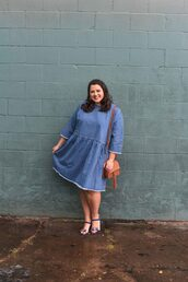 somethinggoldsomethingblue,blogger,dress,shoes,bag,jewels,plus size dress,plus size,denim dress,sandals,shoulder bag