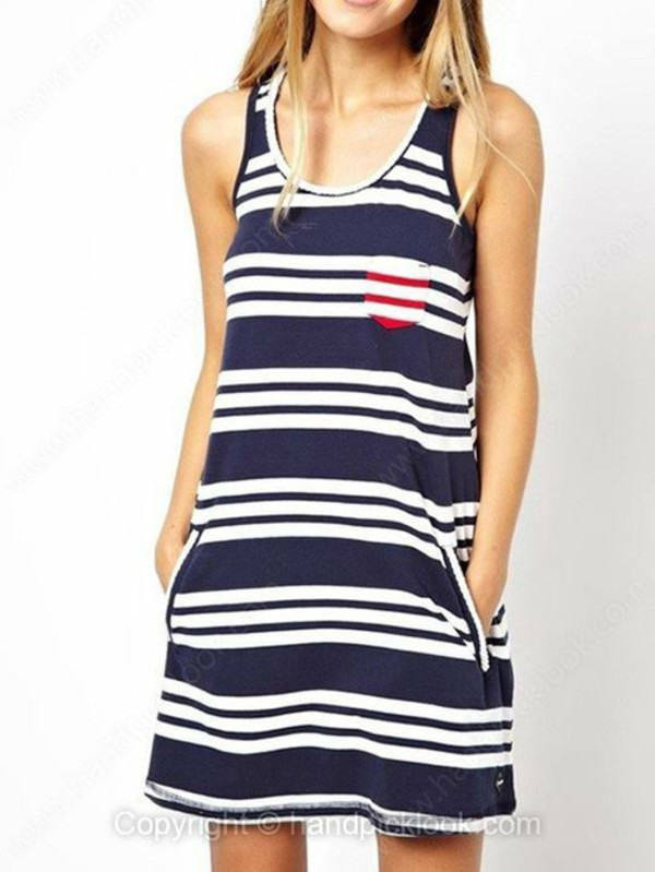 tank dress nautical dress straped dress navy dress navy nautical