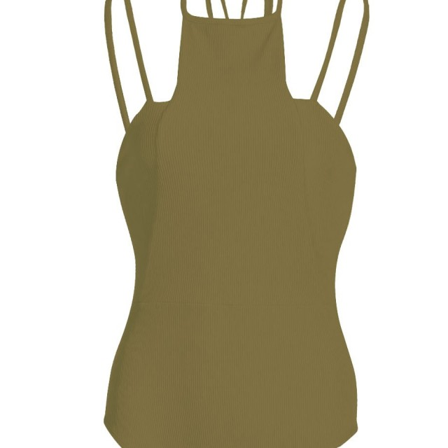 Khaki Bodysuit in Double HalterneckStrap for Women