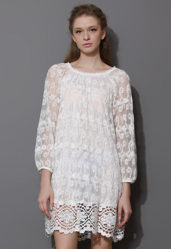 dress presciousness white embroiderd derss crochet hem