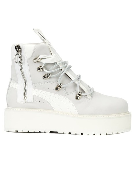women boots platform boots leather white shoes