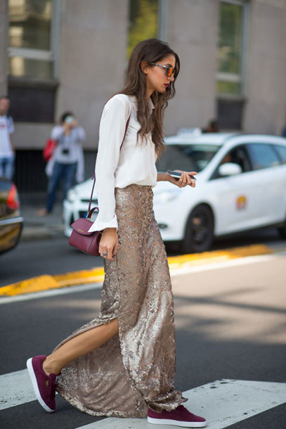 queen of jet lags blogger shorts dress swimwear le fashion image skirt white top long sleeves button up sequins maxi skirt beige skirt burgundy mini bag slit skirt