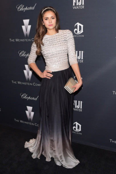 sweater top skirt maxi skirt nina dobrev silver