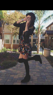 floral dress,jacket,leather jacket,acacia brinley,knee high socks
