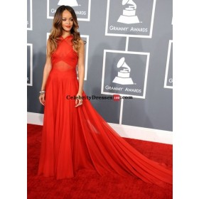 Rihanna Red Sleeveless Chiffon A-line Celebrity Dresses Grammy Awards 2013 Red Carpet