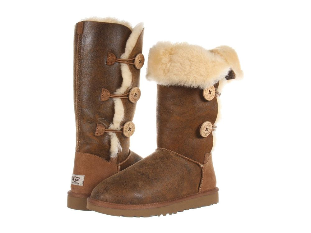 UGG WOMEN BOOTS CLASSIC TALL BAILEY BUTTON TRIPLET BOMBER CHESTNUT BROWN 7 8 NEW