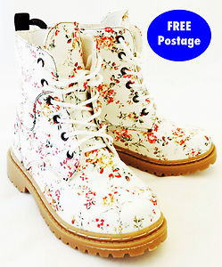 DM BOOTS PATENT LACE UP ANKLE FLORAL PINK BLACK RED BOOTS SIZE 10 ...
