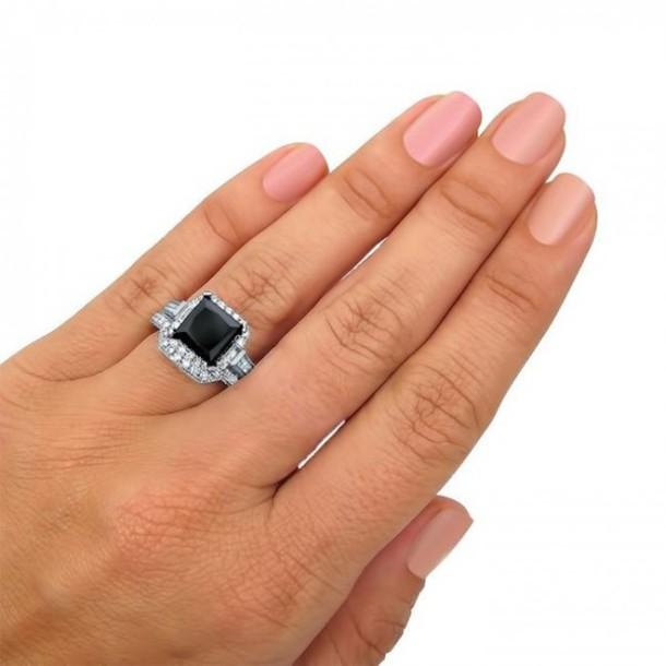 Jewels ring set evolees gorgeous 3 50ct big princess cut black diamond