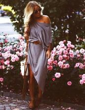 dress,grey,off the shoulder,sexy,loose