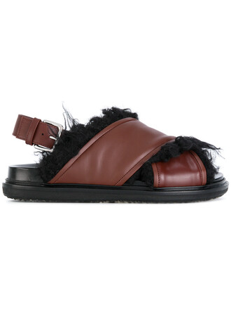 fur women sandals leather brown shoes