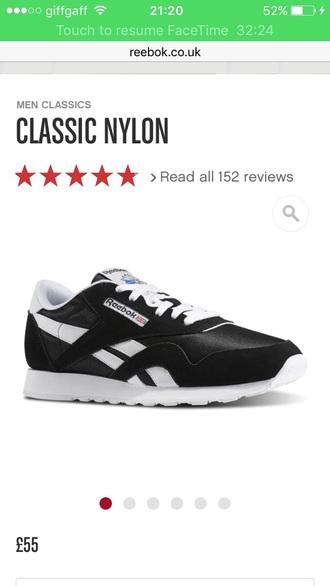 shoes reebok classic reebok classic black white