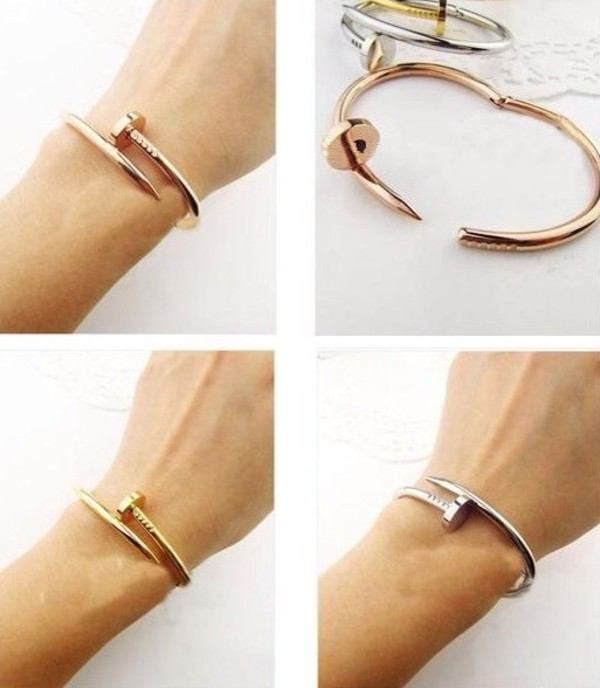 jewels cartier nail bracelet rose gold bracelet