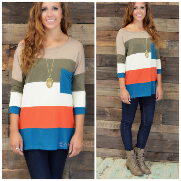top colorblock colorful fall colors striped tunic fall tunic amazing lace trendy three-quarter sleeves