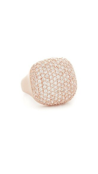 rose gold rose clear shiny ring gold jewels
