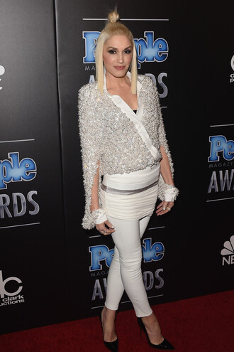 gwen stefani cropped pants embellished top pants