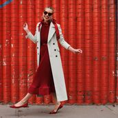 dress,midi dress,red dress,ballet flats,belt,long coat,red sunglasses,earrings,grey coat