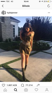 dress,kylie jenner,kylie jenner dress,belt,waist belt,army green,silk dress,silk,chain